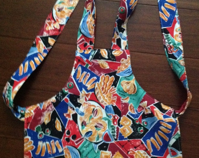 Child's pasta themed apron one cent shipping heavy canvas fabric ages 2-4