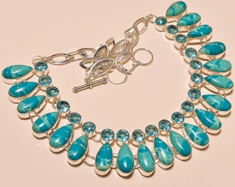 lovely LARIMAR  and  swiss  blue topaz bib necklace