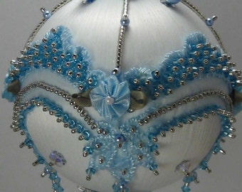 Victoriana Skye - Victorian Theme - A Finished Hand Made Beaded Satin Ornament With Crystals