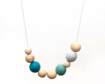 Felt and Wood Bead Necklace