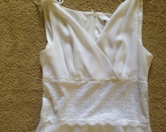 White Crepe and Lace Summer Dress