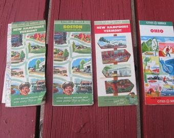 Road Maps : 1940's- 1950's era Cities Services Road Maps..( 4 Map Package)- Collectible- Vintage - Antique