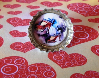 Red Pumps Illustration Bottle Cap Resin Ring Recycled Handmade Jewelry