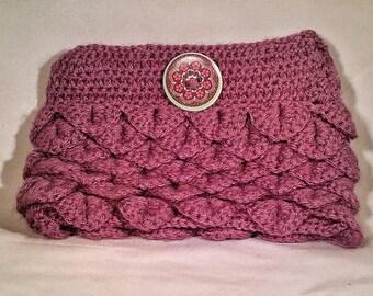 Crochet Pocketbook - Purple Crocodile Stitch