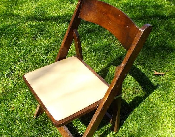 vintage wood folding chair wooden chair old by redtradingpost