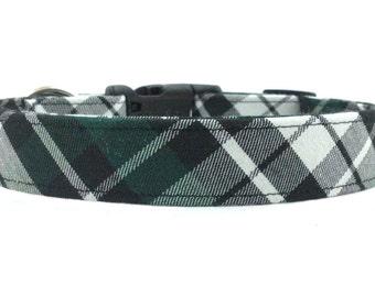 Dark Green Black White Plaid/Tartan Designer Dog Collar