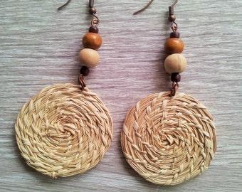 SALE ! Eco-friendly straw earrings - Sustainable jewellery