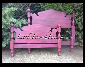 BLACKCHERRY Vintage Headboard & Footboard Complete Bed - Curvy Country French Farmhouse Girl Boy Kids Bedroom Finial