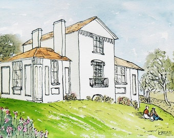 J M W Turner's House at Twickenham Original Ink and Watercolor    Drawing - A lovely Gift