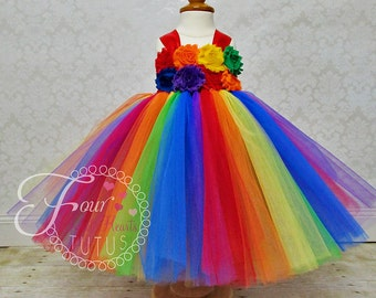 Clown Tutu Dress, Circus Tutu Dress, Rainbow First Birthday Outfit, Girls First Birthday Tutu, Rainbow Tutu Outfit, Rainbow Dress