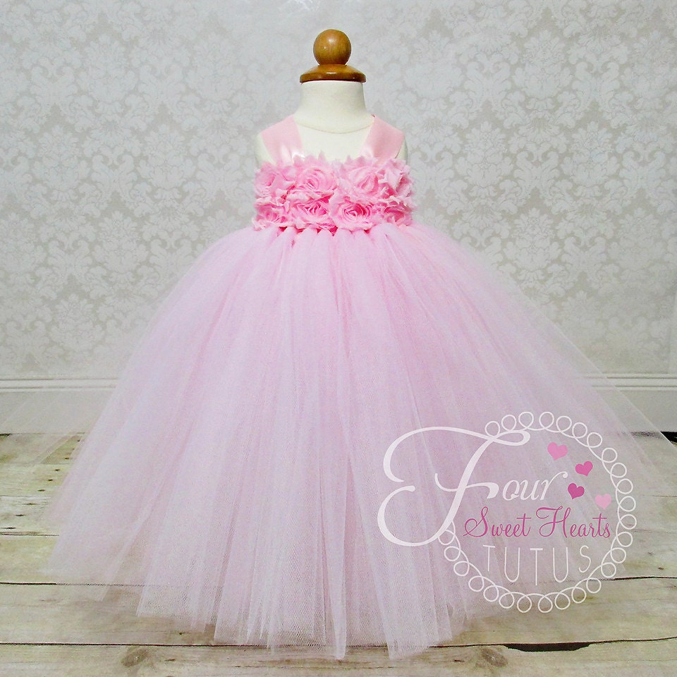 Pink Flower Girl Dress Flower Girl Tutu First Birthday Tutu
