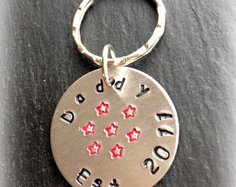 Daddy Established In Hand Stamped Aluminium Keyring