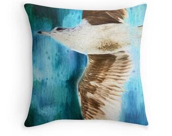 Bird Cushion, Seagull Cushion, Beach Decor, Seagull Throw Pillow, Sea Gull Pillow, Bird Throw Pillow, Modern Decor, Bird Decor