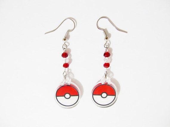 Pokeball acrylic earrings by AprilsDaughter on Etsy