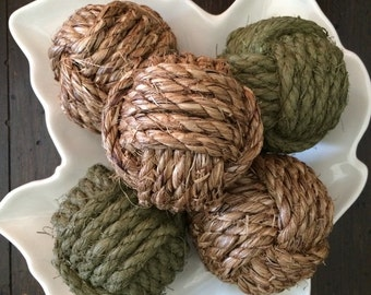 Moss - green nautical rope knots - 5 decorative rope balls - monkey fist knots - rope home decor - rustic green decor - earthy vase fillers