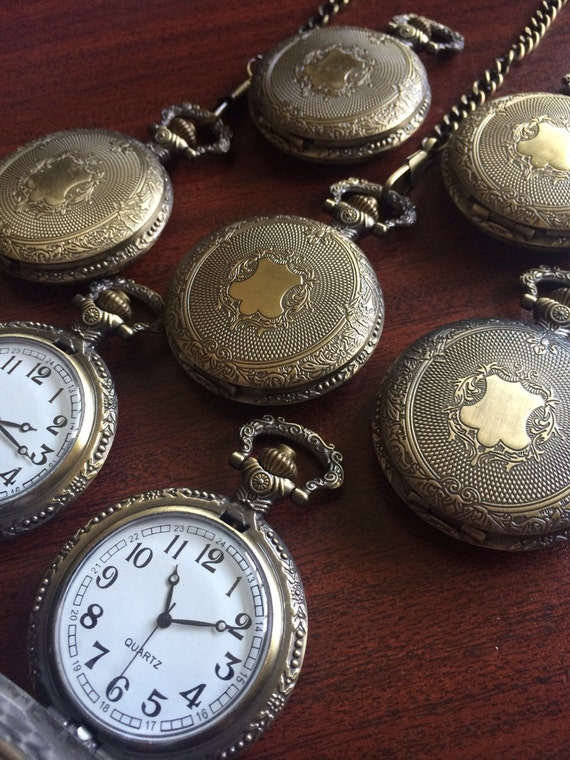7 groomsmen pocket watches with chains by pocketwatchkeepsakes
