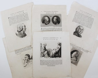 1780s Antique Print Lot - 6 x Book Plate Lavater's Essays on Physiognomy (F3)
