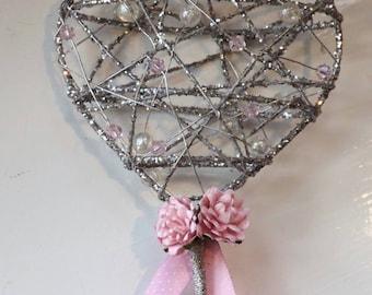Flower girl wand, sparkle heart, any colour
