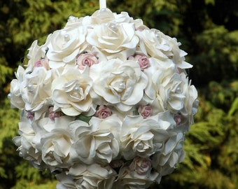 Flower girl pomander - kissing ball - wedding pomander - pew end - any colour way