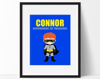 Superhero Print - Superhero In Training Quote - Boys Room Print - Playroom Decor - Nursery Print - Comic Book Print - Super Hero Print