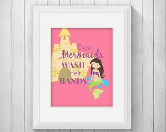 Items Similar To Mermaid Bathroom Sign Even Mermaids Wash Their Tails On Etsy