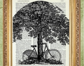 Bicycle Art Prints or Bicycle Dictionary Art Prints or Bicycle Sheet Music Art Prints Bicycle and Tree Prints