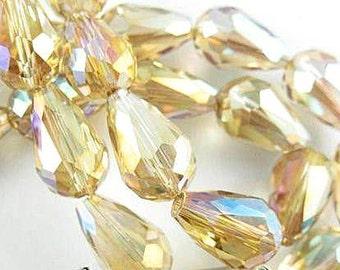 Golden Topaz  Crystal Teardrops  10 x 15mm