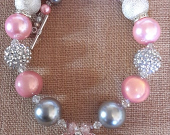 Gymnastics Heart Bubble Gum Bead Necklace