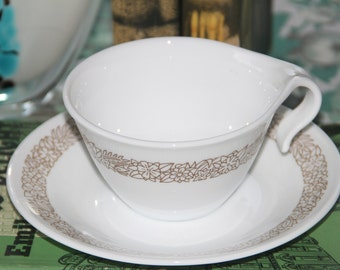Vintage Corelle  WOODLANDS Hook Handle Cup and Saucer  by Corning