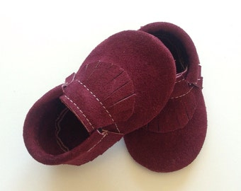 Maroon Suede Baby Moccasins
