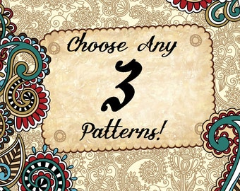 Choose any 3 Cross stitch patterns!