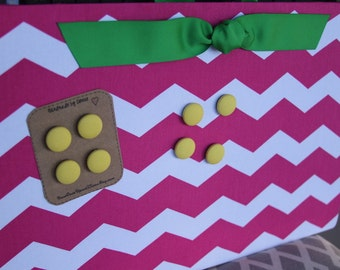 "Magnetic Board (18"" x 12"") Fabric covered magnet board - Hot Pink chevron, Lime green, yellow, Memo Board, Bulletin board, Playroom, Kids"
