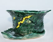 Jungle Ceramic Planter with Plate and Drainage, Hand built Unique plant pot, deep green, forest green, pottery flower pot