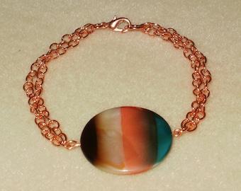Copper Chain & Turq/Peach/Brown Disc Bracelet