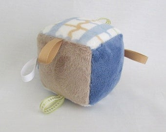 Soft Toy Block - Sensory Toy - Nursery Toy - Soft Toy With Rattle - Blue, Tan and Plaid Toy Block