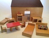 Mid-Century Modern Wood Dollhouse by Creative Playthings with Minimalist Wood Furniture Made in Finland