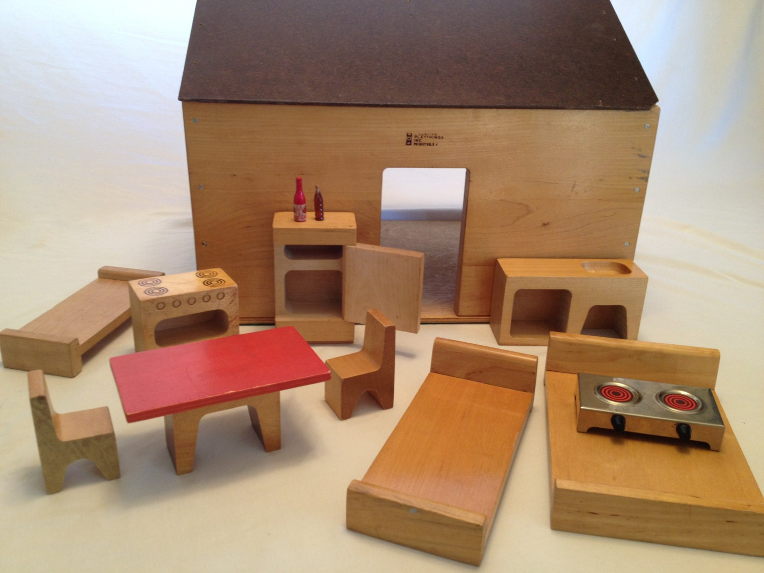 Mid Century Modern Wood Dollhouse By Creative Playthings With
