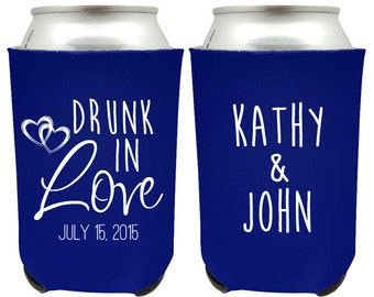 Drunk in Love Wedding Can Coolers, Wedding Favor Customized Can Coolers, Personalized Can Coolers, Custom Wedding Beer Can Coolers (71)