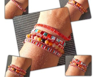 """""""Isabelle"""" wrap bracelet 5 rows, red and orange."""
