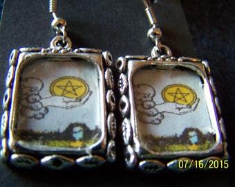 Ace of Pentacles Tarot Earrings