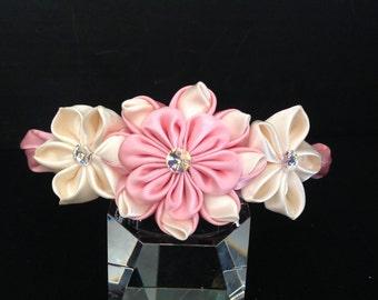 Kanzashi Flower Headband, Tsumami Kanzashi, Ribbon Flower Headband, Girls Flower Headband