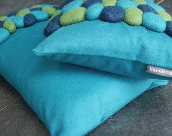2 cushions felt stones / pebbles Laguna italien cashmere