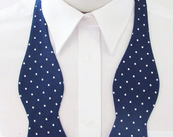Mens Bow Tie White Dots On Navy Woven  Self Tie Bow Tie
