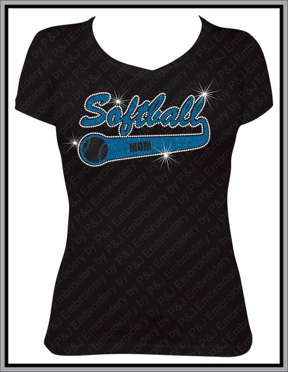 Softball Mom Glitter and Rhinestone V-neck shirt