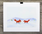 Winter Foxes 8x10 Waterco...