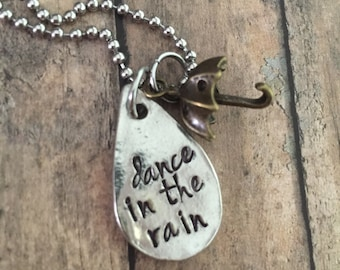 Dance in the Rain Necklace, Umbrella Necklace, Teardrop Necklace, Gifts for Her, Dancer Gifts, Dancer Necklace, Dance Teacher Gift, Support