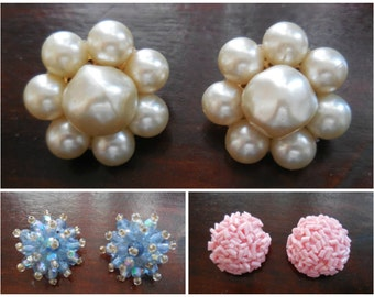 Beautiful set of three Vintage Clips Earrings Original 50s - 60s. French Vintage