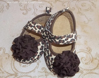 Leopard Baby Shoes with Flower - Leopard Petti Romper - Leopard 1st Birthday Outfit - Leopard Baby Outfit - Leopard Tutu Outfit