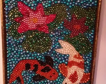 "Original framed Mardi Gras bead art - koi pond 15"" X 19"""