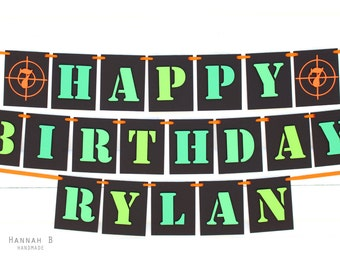 Laser Tag, Camo Happy Birthday Banner with Personalized Name